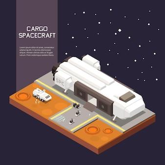 Proces ładowania ładunku do statku kosmicznego 3d izometryczna ilustracja