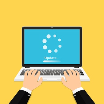 Proces ładowania na ekranie laptopa