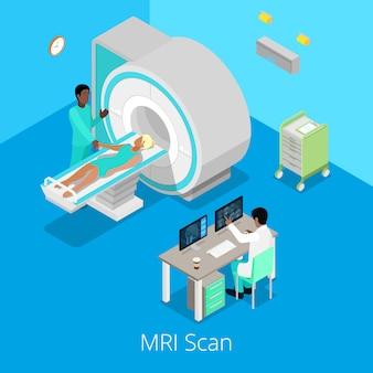 Proces obrazowania izometrycznego skanera mri z lekarzem i pacjentem. ilustracja