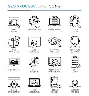 Proces optymalizacji pod kątem wyszukiwarek seo zestaw ikon cienka linia.