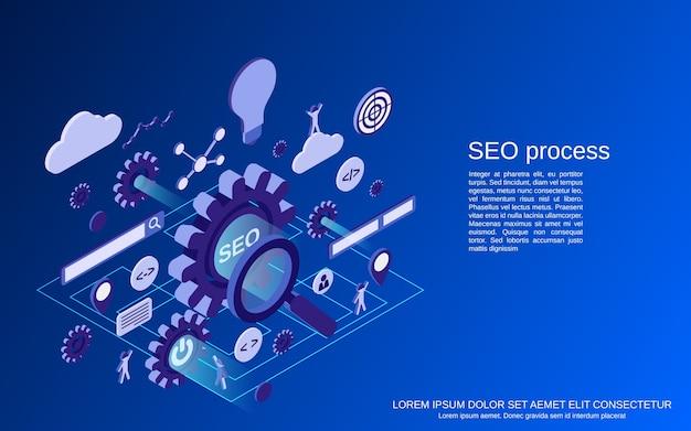 Proces optymalizacji seo, ilustracja koncepcja izometryczna wyszukiwania w internecie
