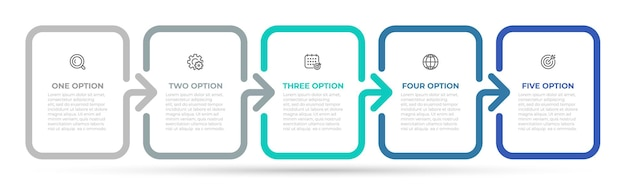 Proces osi czasu z 5 opcjami lub krokami.