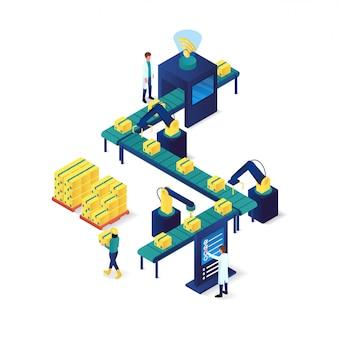 Proces pakowania przemysłu i technologii ilustracja izometryczny