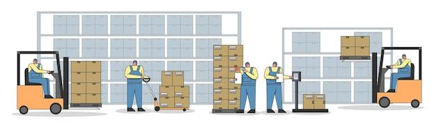 Proces pracy w magazynie z personelem pracy. pracownicy skanują, ważą, ładują i rozładowują paczki, dotrzymują terminu wysyłki towarów. ilustracja kreskówka liniowy kontur płaski wektor