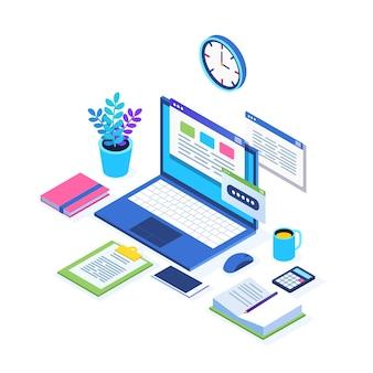 Proces pracy. zarządzanie czasem. izometryczne miejsce pracy z komputerem, laptopem, komputerem pc, telefonem komórkowym, kawą, zegarem, kalendarzem, dokumentem. na baner