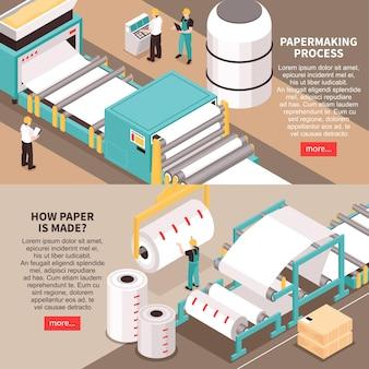 Proces produkcji materiałów papierniczych 2 poziome izometryczne banery internetowe