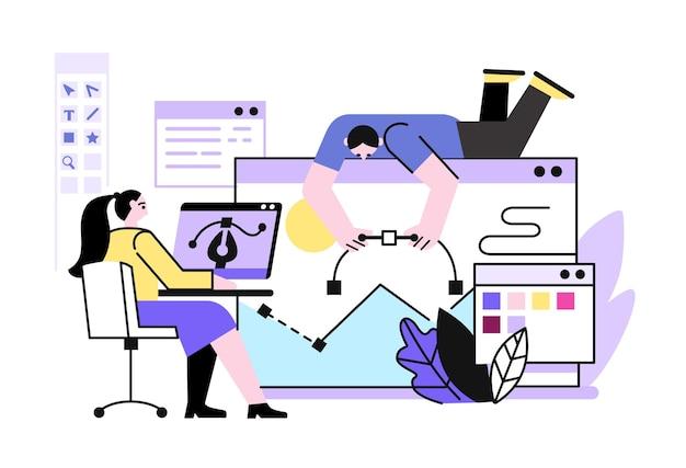 Proces projektowania stron internetowych i grafiki aplikacji z udziałem ludzi.