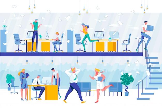 Proces przepływu pracy w dwupoziomowym biurze firmy