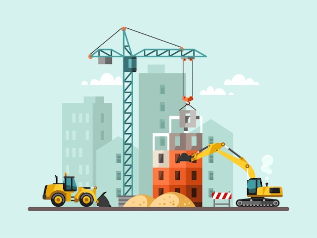 Proces robót budowlanych z domami i maszynami budowlanymi.