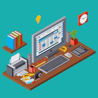 Proces twórczy, grafika projektowanie stron internetowych, rozwój strony internetowej płaski 3d izometryczny ilustracja koncepcja wektor