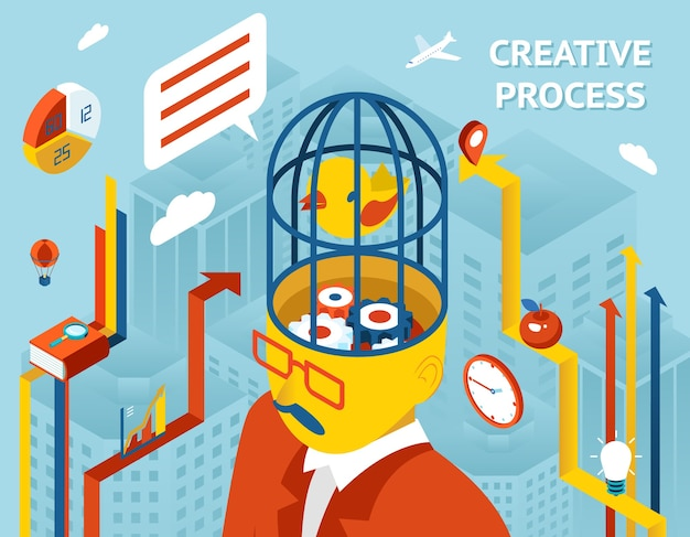 Proces twórczy. myśl i kreacja, myślenie i wynalazek i rozwiązanie przekładnie w ludzkiej głowie.
