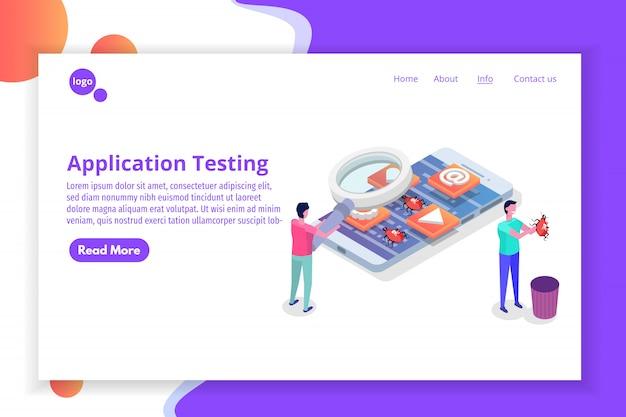 Proces tworzenia, testowania i prototypowania aplikacji mobilnych izometryczny. budowa interfejsu aplikacji.