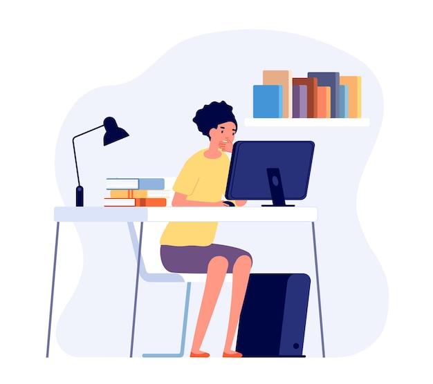 Proces uczenia się. student czytający przy biurku, nauka online. dziewczyna studiuje pracę domową na komputerze. ilustracja wektorowa pracownika lub nauczyciela nauki. uczniowie siedzący i trenujący wiedzę online