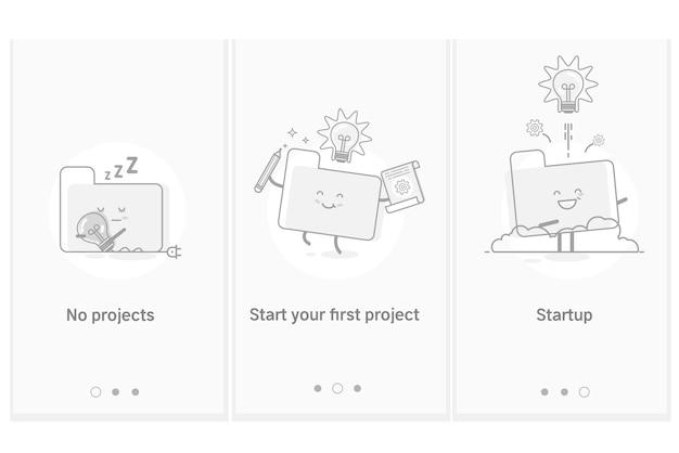 Proces uruchamiania projektu, opracowywanie nowych produktów i usług od pomysłu do wdrożenia. nowoczesny interfejs szablon ekranu gui ux dla banerów inteligentnych telefonów lub witryn internetowych.