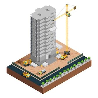 Proces wielkopiętrowej budowy izometrycznej budowli z różnymi pojazdami i materią