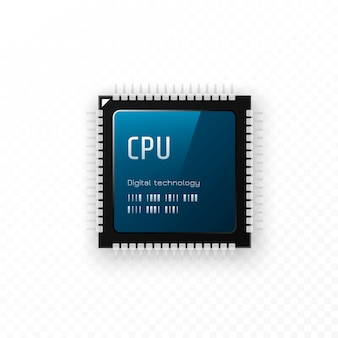 Procesor na przezroczystym tle. koncepcja jednostki microchip