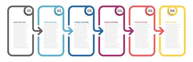 Procesy na osi czasu z 6 opcjami lub krokami.