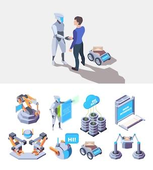 Procesy robotyczne. inteligentne elementy przemysłu wytwarzają usługi produkcji inżynieryjnej wektor izometryczny fabryki. automatyczna inteligencja automatyka, ilustracja systemu zrobotyzowanego technologii
