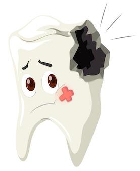 Próchnica zębów ze smutną twarzą