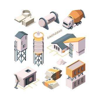 Produkcja betonu. cementownia przemysł materiał technologia betoniarki zbiorniki transportowe wektor izometryczny. przemysł budownictwo cementowe, produkcja betonu