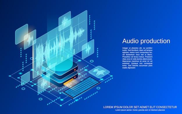 Produkcja dźwięku płaska ilustracja koncepcja izometryczny wektor 3d