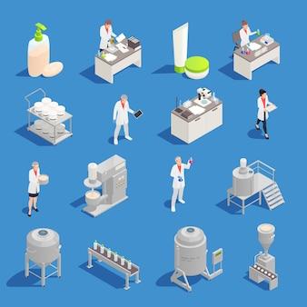 Produkcja kosmetyków i detergentów izometryczne ikony zestaw z fabryki i sprzęt laboratoryjny na białym tle