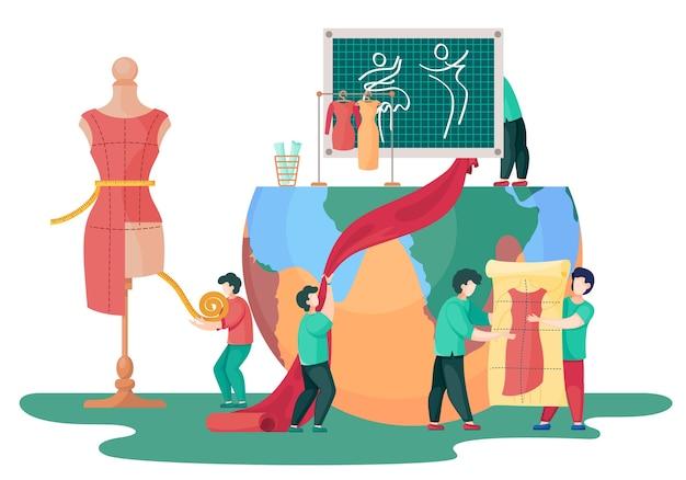 Produkcja odzieży i jej wpływ na planetę. ludzie produkują różne ubrania. mężczyźni robią czerwoną sukienkę. postacie pomagają sobie nawzajem w tworzeniu nowego ubrania. mężczyźni trzymają kawałek materiału