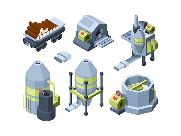 Produkcja papieru. sprzęt prasowy zakłady przemysłowe wytwarzające druk biurowy i papier toaletowy tektura wektor izometryczny. sprzęt do produkcji papieru, fabryka przetwarzania 3d ilustracji operacji