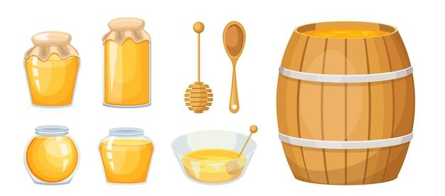 Produkcja pasieki miodowej, szklane słoiki, drewniany czerpak i beczka z miską, żółty słodki płyn. zdrowa żywność, ekologiczne odżywianie na białym tle. ilustracja kreskówka wektor, zestaw ikon