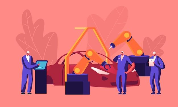 Produkcja samochodów w zakładzie, produkcja samochodów. płaskie ilustracja kreskówka