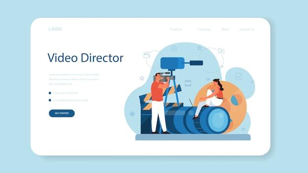 Produkcja wideo lub baner internetowy lub strona docelowa dla kamerzystów. przemysł filmowy i kinowy. tworzenie treści wizualnych dla mediów społecznościowych przy użyciu specjalnego sprzętu.