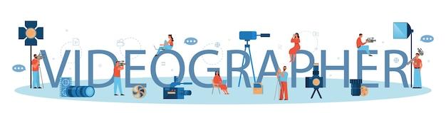 Produkcja wideo lub koncepcja nagłówka typograficznego kamerzysty. przemysł filmowy i kinowy. tworzenie treści wizualnych dla mediów społecznościowych przy użyciu specjalnego sprzętu. ilustracja na białym tle wektor