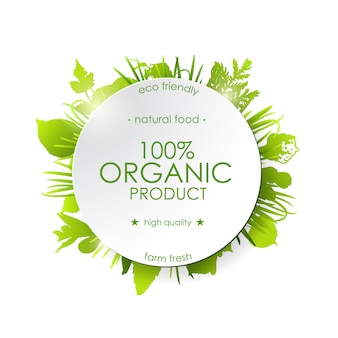Produkt ekologiczny, zielony okrągły baner z zielonymi roślinami.
