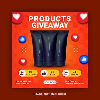 Produkt giveaway instagram post banner szablon postu w mediach społecznościowych