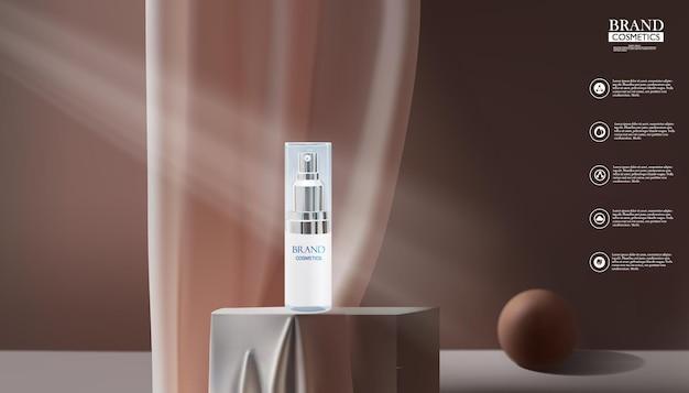 Produkt kosmetyczny na podium z białym jedwabiem. różowy jedwabny materiał na brązowym tle.