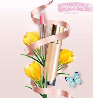 Produkt kosmetyczny, podkład, korektor, krem z pomadką i kwiatami krokusów. tło uroda i kosmetyki. służy do ulotki reklamowej, baneru, ulotki. wektor szablonu.
