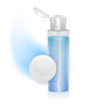 Produkt kosmetyczny. szablon do pielęgnacji skóry w opakowaniu z butelką na tonik lub wodę micelarną