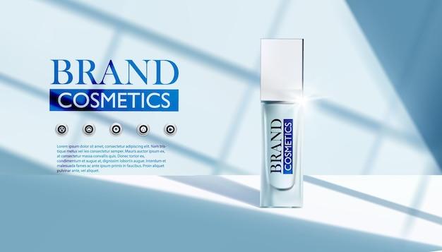 Produkt kosmetyczny z cieniem i światłem z okna realistyczna ilustracja wektorowa
