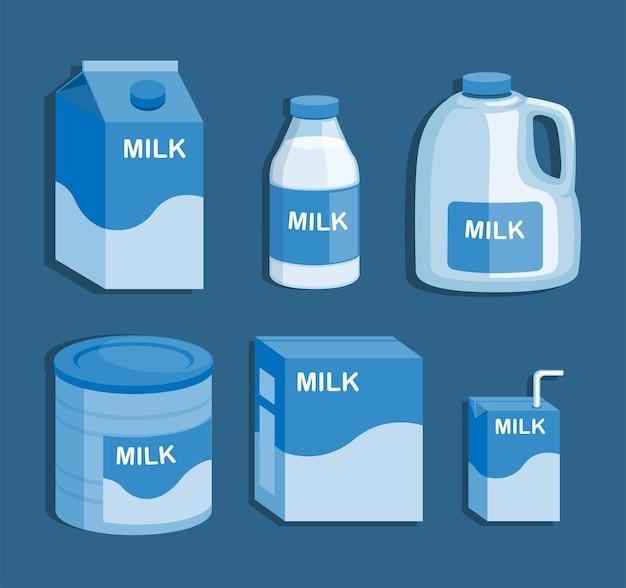 Produkt mleczny w pudełku butelki w proszku i gotowy do picia zestaw kolekcji opakowań wektor ilustracja