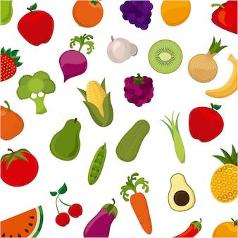 Produkt organiczny na białym tle ilustracji wektorowych