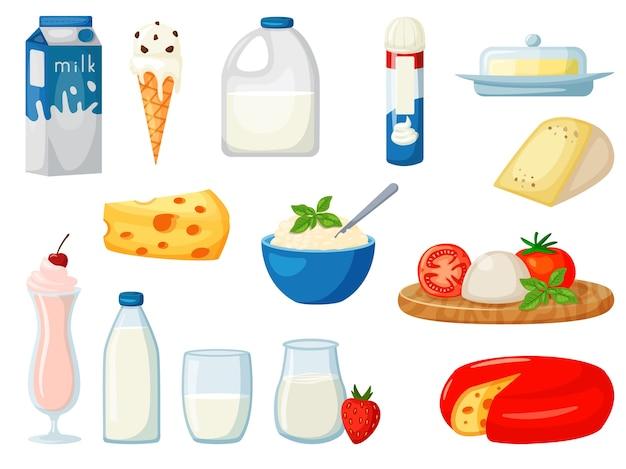 Produkt spożywczy mleczne mleko na białym tle zestaw na białym tle