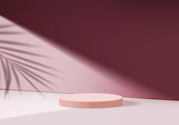 Produkt wystawowy na podium o geometrycznym kształcie liścia, renderowanie cokołu w tle dla platformy kosmetycznej