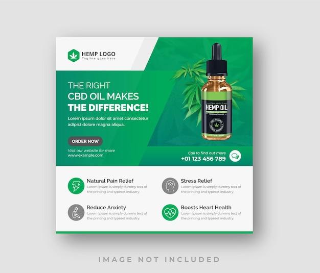 Produkt z oleju konopnego konopie social media post lub kwadratowy szablon ulotki
