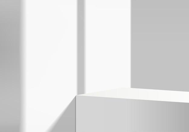 Produkty 3d tła wyświetlają scenę podium z białą kamienną szarą platformą. tło wektor renderowania 3d z podium. stoisko, aby pokazać produkt kosmetyczny. prezentacja sceniczna na cokole białe studio