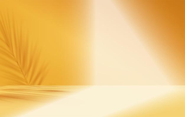 Produkty 3d tła wyświetlają scenę podium z geometryczną platformą liści palmowych. tło wektor 3d render z podium. stoisko pokaż produkt kosmetyczny. prezentacja sceniczna na cokole pomarańczowe studio
