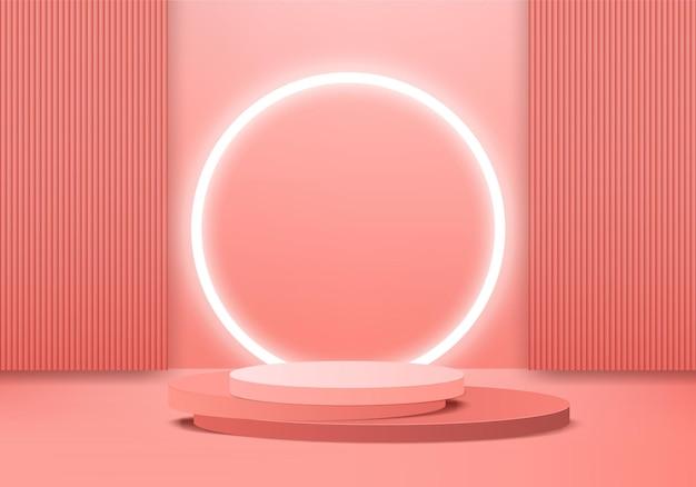 Produkty 3d tła wyświetlają scenę podium z geometryczną platformą. tło renderowania 3d z podium. stoisko do prezentacji produktów kosmetycznych. prezentacja sceniczna na cokole pomarańczowe studio