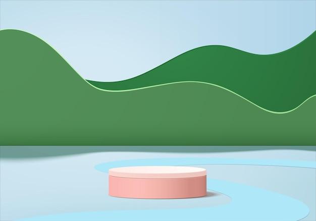 Produkty 3d tła wyświetlają scenę podium z geometryczną platformą. tło wektor renderowania 3d z podium. stoisko do prezentacji produktów kosmetycznych. prezentacja sceniczna na cokole zielone studio