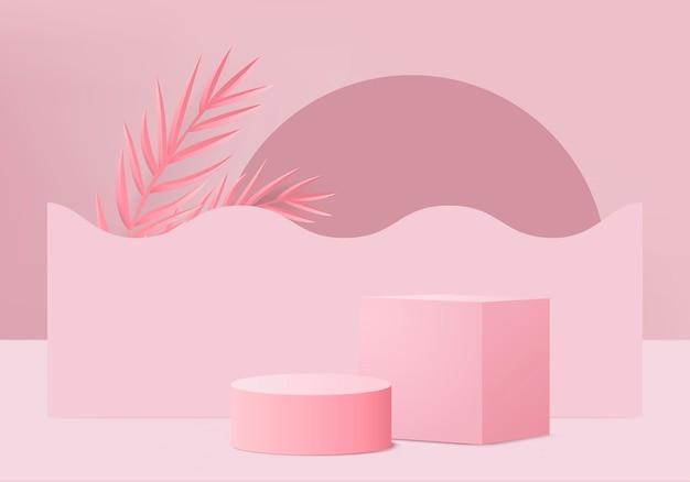 Produkty 3d tła wyświetlają scenę podium z geometryczną platformą z zielonym liściem. tło renderowania 3d z podium. prezentacja sceniczna na cokole różowym studio