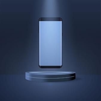 Produkty 3d wyświetlają scenę podium do prezentacji i promocji gadżetu lub produktu technologicznego