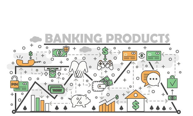 Produkty bankowości wektorowej cienka linia ilustracji